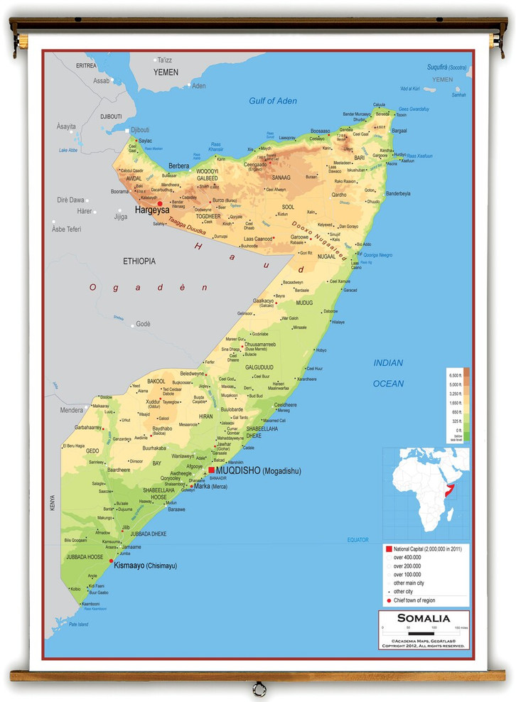 Somalia Physical Educational Map from Academia Maps