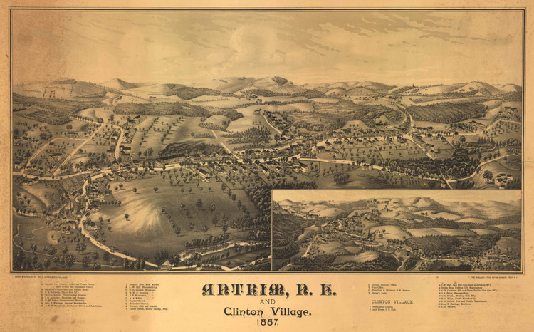 Historic Map - Antrim, NH - 1887