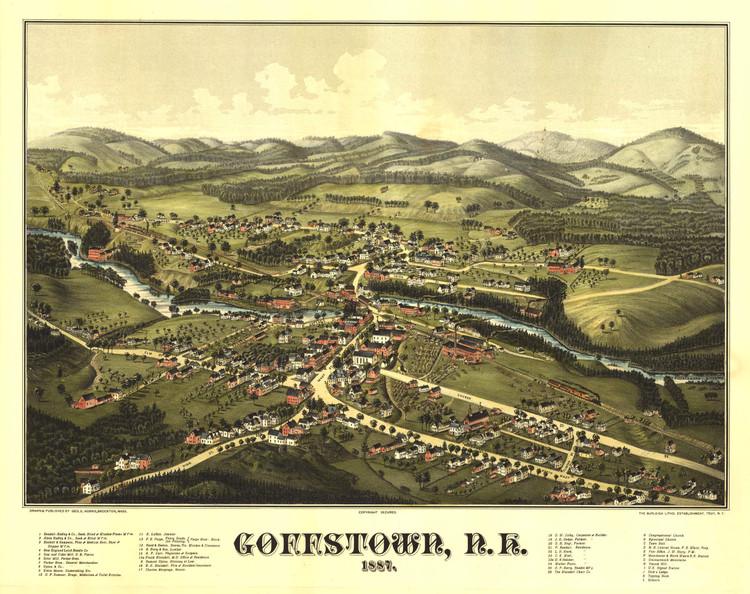 Historic Map - Goffstown, NH - 1887