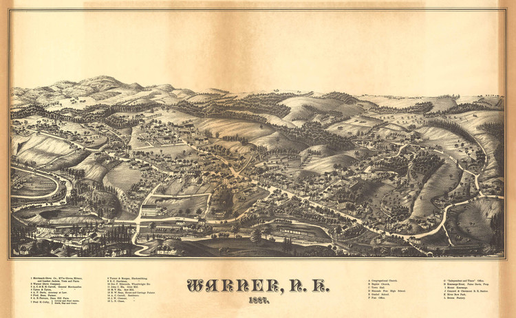 Historic Map - Warner, NH - 1887