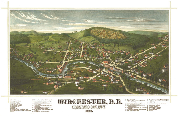 Historic Map - Winchester, NH - 1887