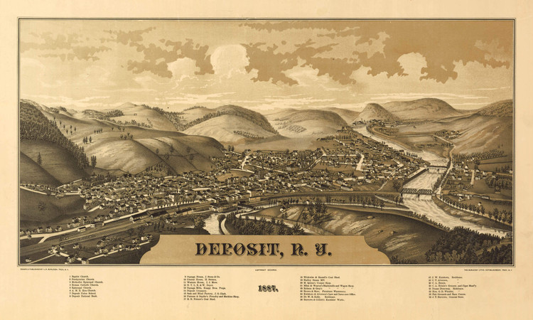 Historic Map - Deposit, NY - 1887