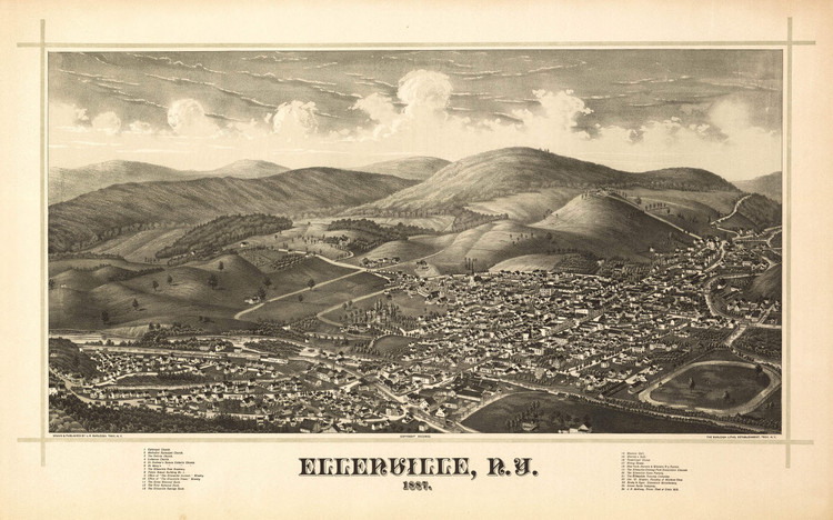 Historic Map - Ellenville, NY - 1887