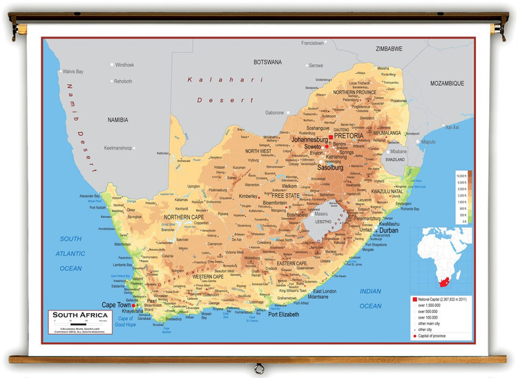 South Africa Physical Educational Map from Academia Maps