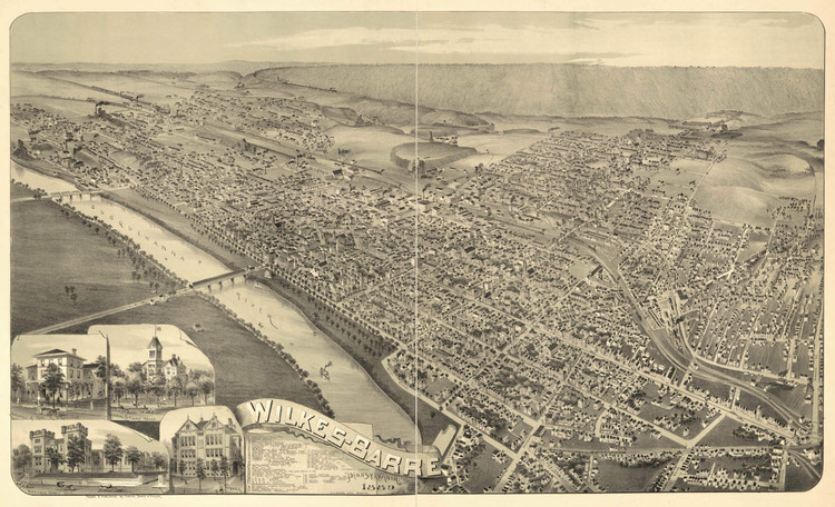 Historic Map - Wilkes-Barre, PA - 1889