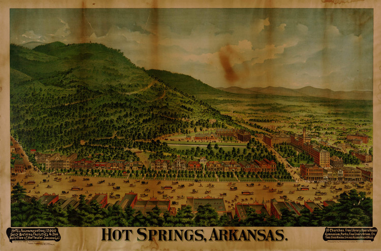 Historic Map - Hot Springs, AR - 1890