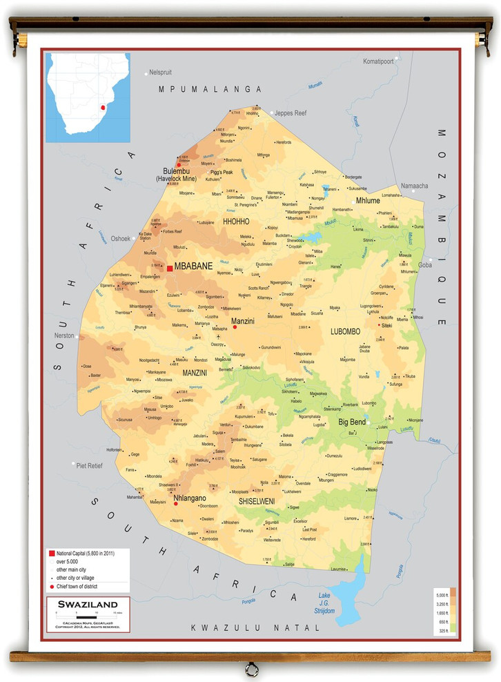 Swaziland Physical Educational Map from Academia Maps