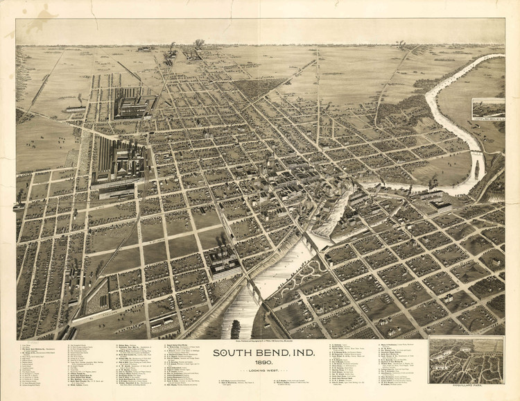 Historic Map - South Bend, IN - 1890