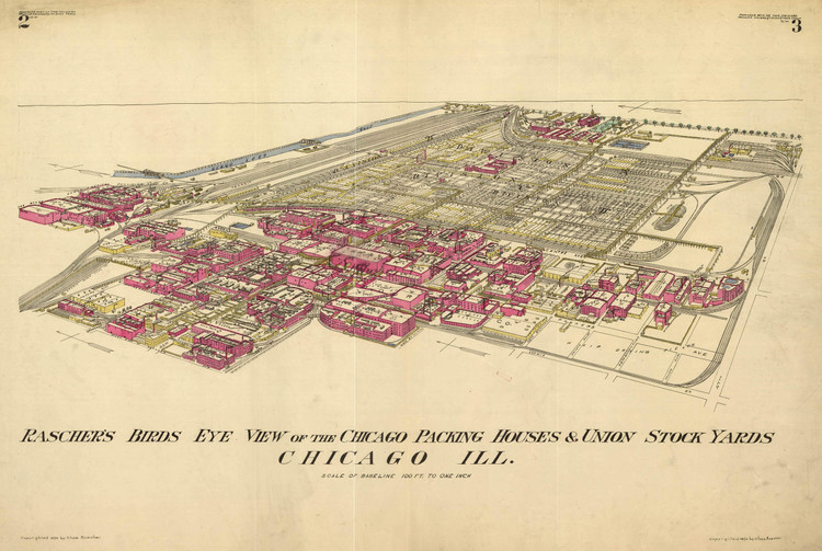 Historic Map - Chicago, IL - Packing Houses & Stock Yards - 1890