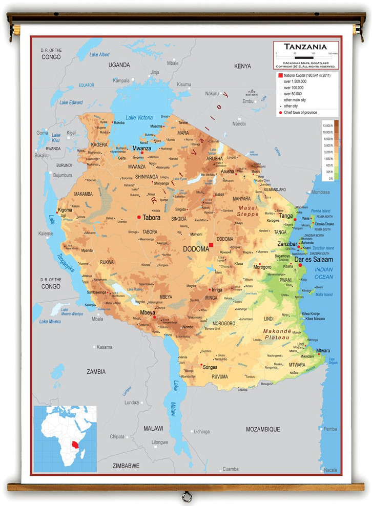 Tanzania Physical Educational Map from Academia Maps