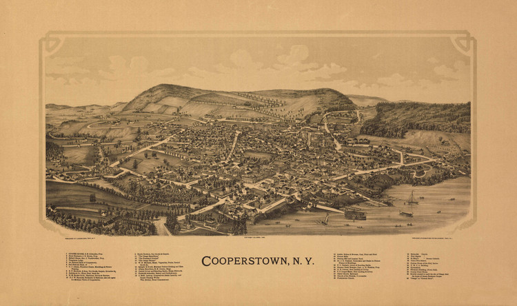 Historic Map - Cooperstown, NY - 1890
