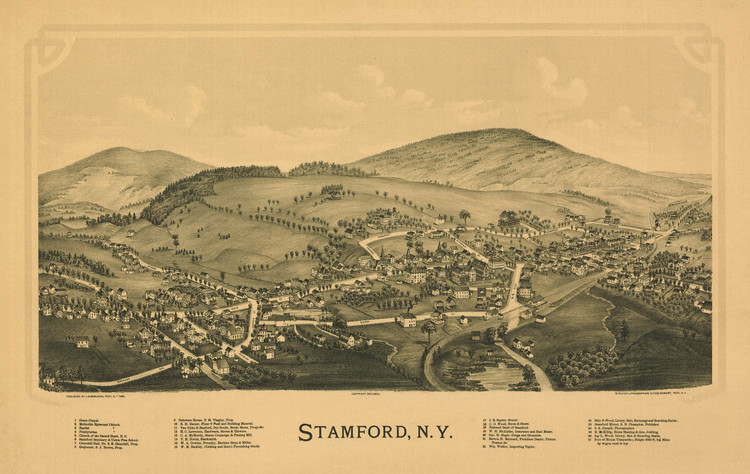 Historic Map - Stamford, NY - 1890