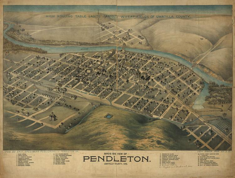 Historic Map - Pendleton, OR - 1890