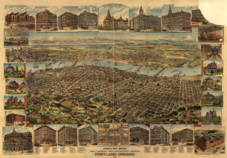 Historic Map - Portland, OR - 1890