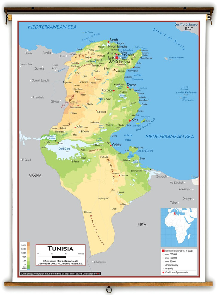 Tunisia Physical Educational Map from Academia Maps