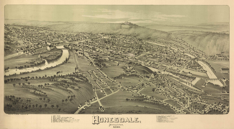 Historic Map - Honesdale, PA - 1890
