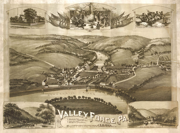 Historic Map - Valley Forge, PA - 1890