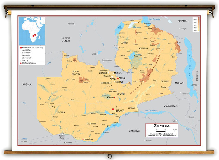 Zambia Physical Educational Map from Academia Maps