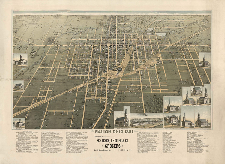 Historic Map - Galion, OH - 1891