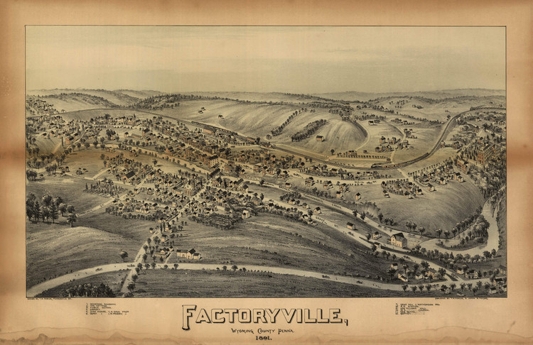 Historic Map - Factoryville, PA - 1891