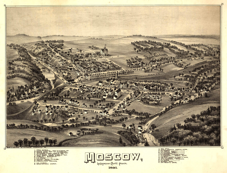 Historic Map - Moscow, PA - 1891