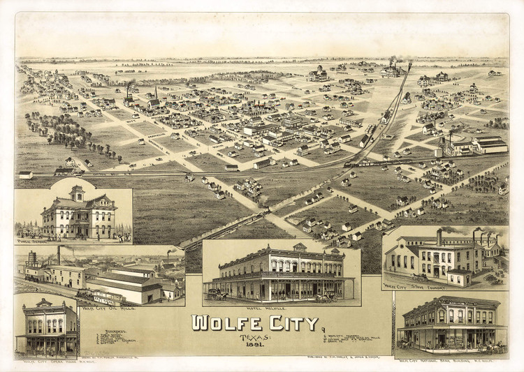 Historic Map - Wolfe City, TX - 1891