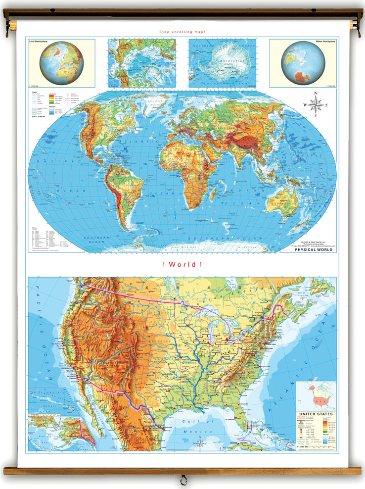 Economy Stacked U.S. & World Physical Maps from Klett-Perthes