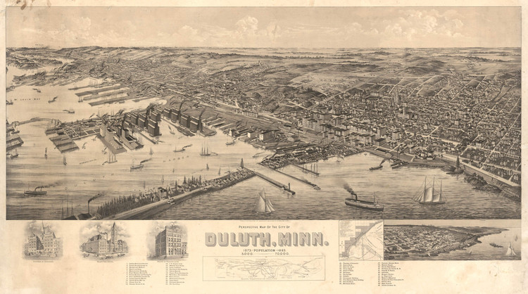 Historic Map - Duluth, MN - 1893