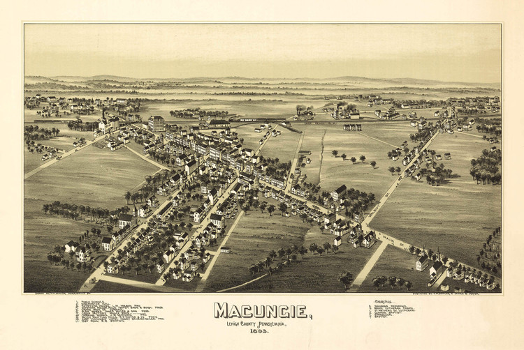 Historic Map - Macungie, PA - 1893