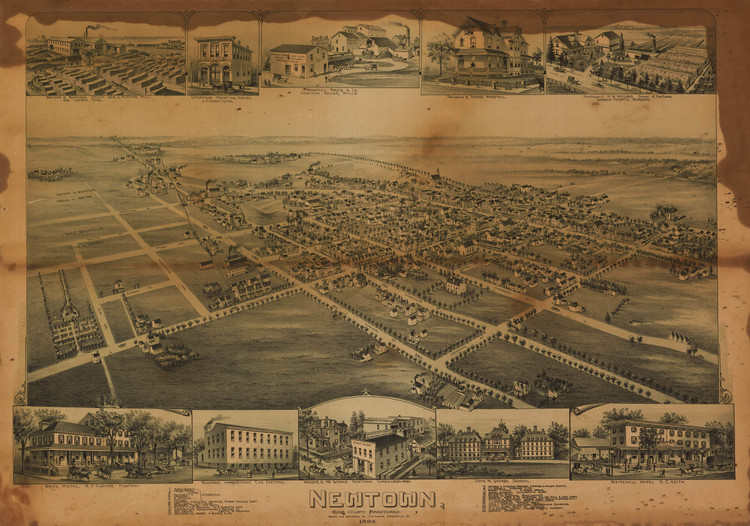 Historic Map - Newtown, PA - 1893