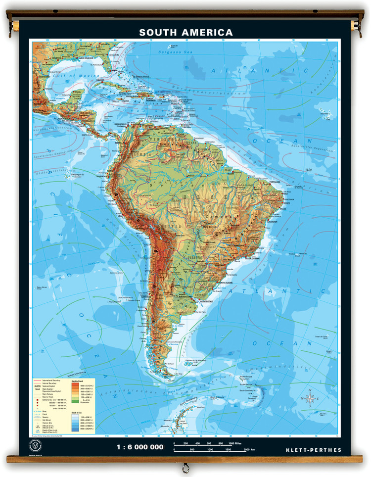 Extra Large South America Physical Map on Spring Roller
