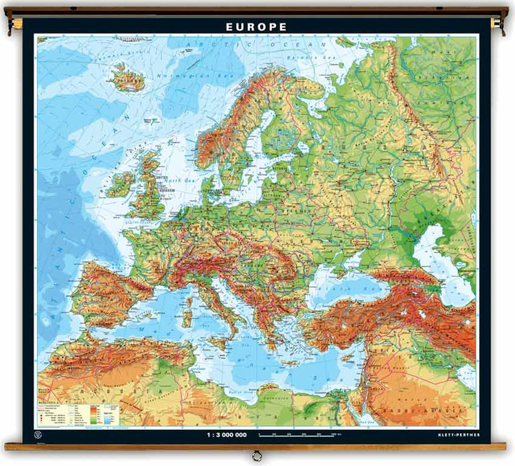 Extra Large Europe Physical Map on Spring Roller from Klett-Perthes