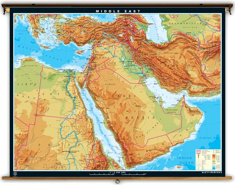 Extra Large Middle East Physical Map on Spring Roller