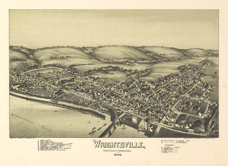 Historic Map - Wrightsville, PA - 1894