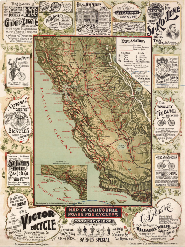 Historic Map - California State - Roads for Cyclers - 1895