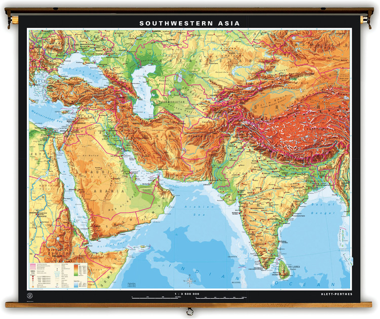 Extra Large Southwestern Asia Physical Map on Spring Roller