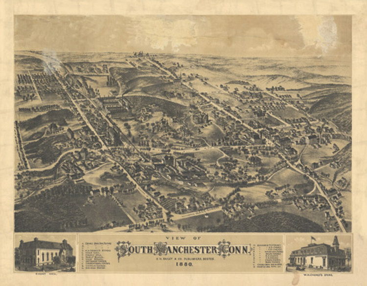 Historic Map - South Manchester, CT - 1880