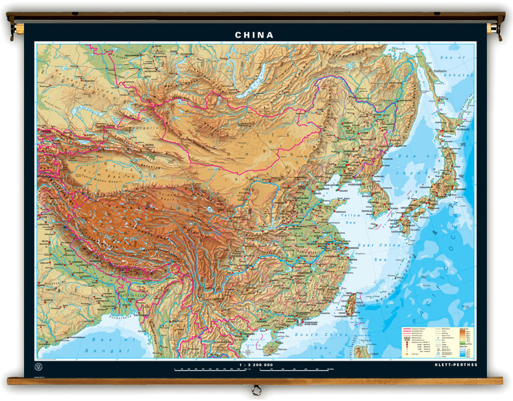 Extra Large Physical Map of China on Spring Roller