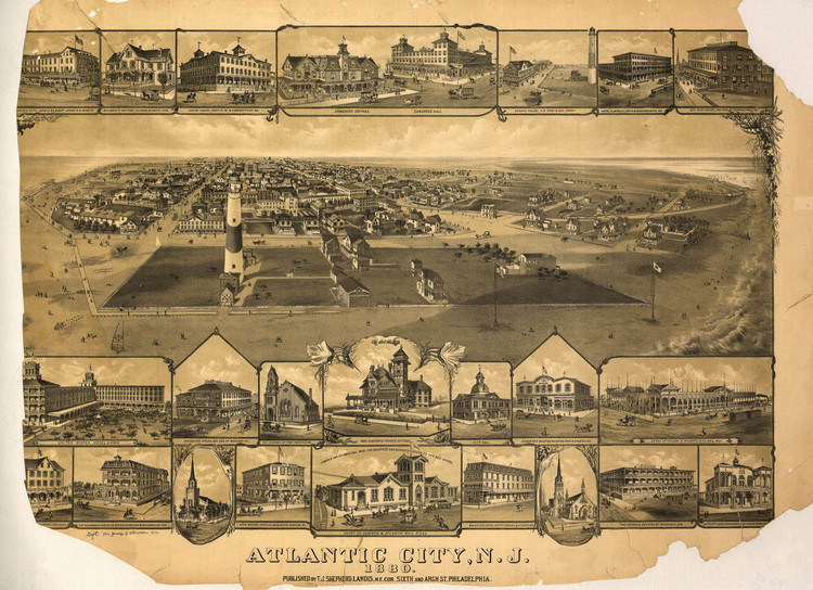 Historic Map - Atlantic City, NJ - 1880