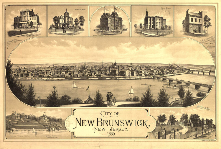 Historic Map - New Brunswick, NJ - 1880