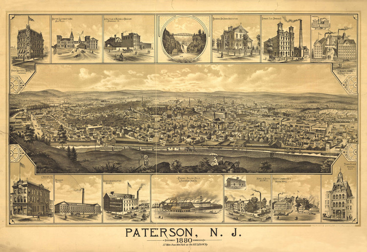 Historic Map - Patterson, NJ - 1880
