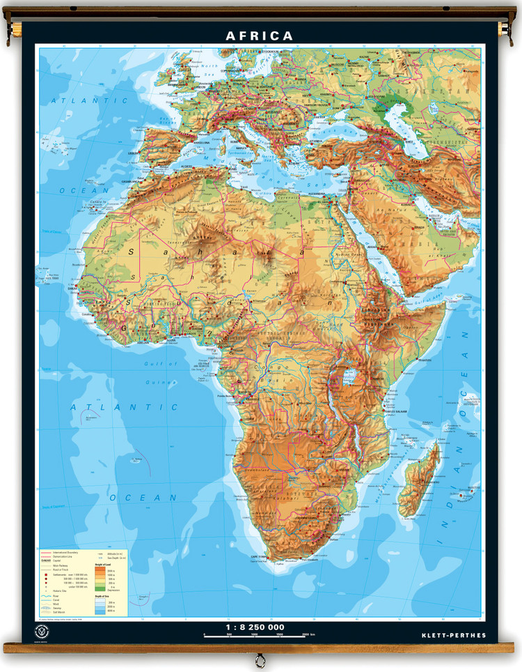 Extra Large Africa Physical Map on Spring Roller
