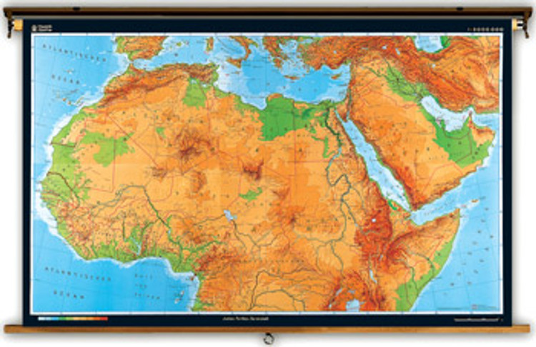 Extra Large North Africa Physical Map on Wood Rails