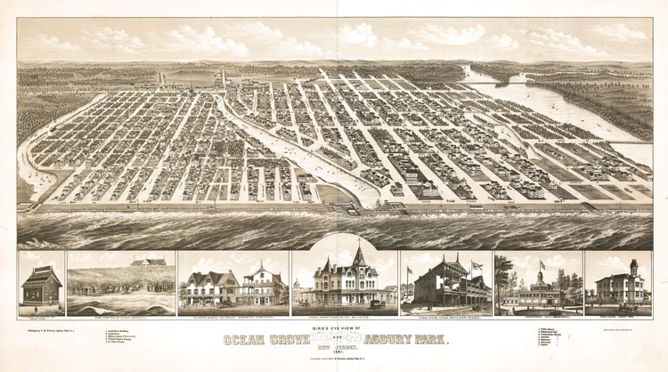Historic Map - Orange Grove & Asbury Park, NJ - 1881