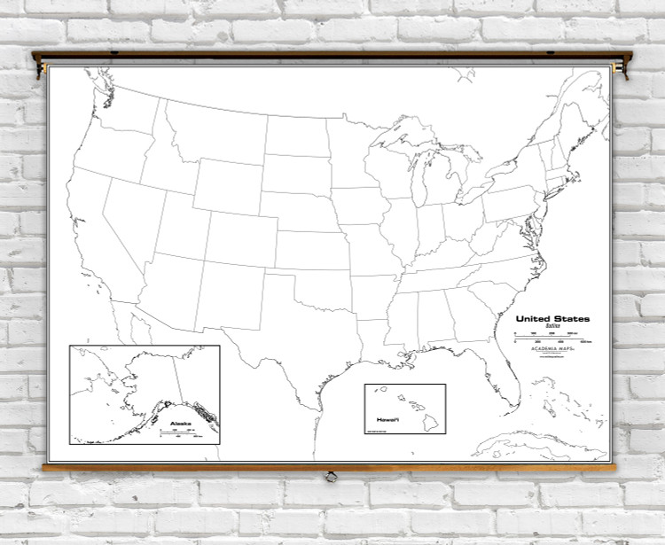 United States Outline Pull-Down Classroom Map