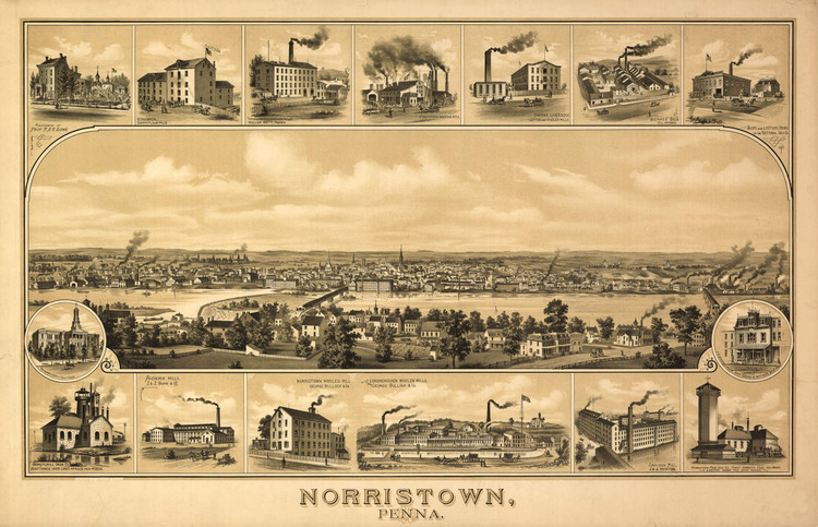 Historic Map - Norristown, PA - 1881