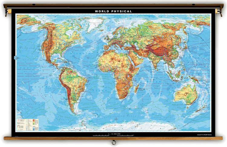 Extra Large World Physical Map on Spring Roller from Klett-Perthes