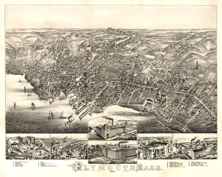 Historic Map - Plymouth, MA - 1882