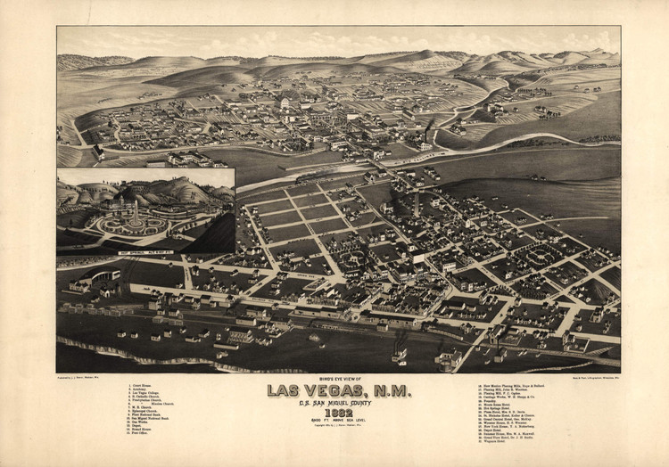 Historic Map - Las Vegas, NM - 1882