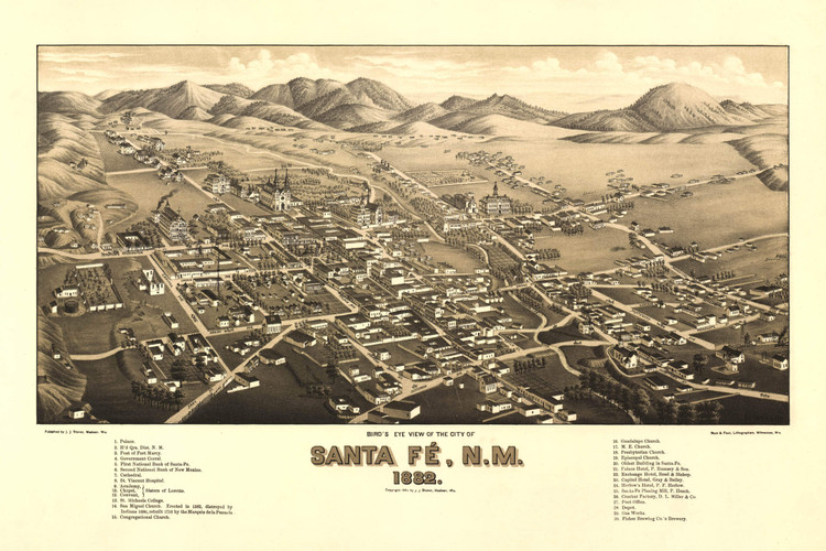 Historic Map - Santa Fe, NM - 1882
